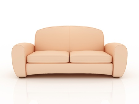 Beige sofa isolated on a white background. 3D