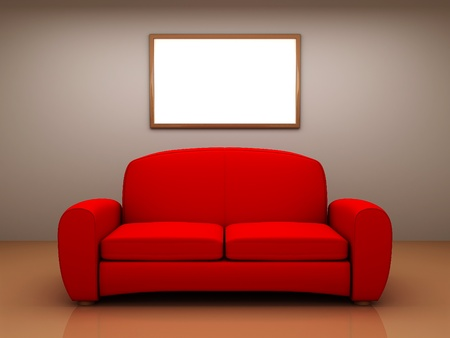 Red sofa in a room with a blank picture. 3D