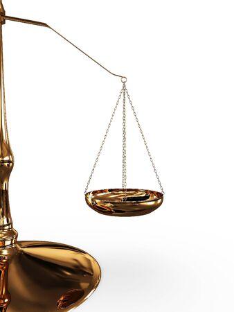 balanza en equilibrio: Escala de equilibrio aislada sobre fondo blanco. 3D Foto de archivo