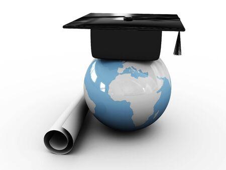 alumnae: Masters cap for graduates in the globe. 3D