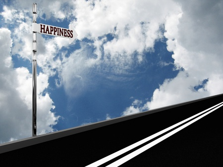 Pointer Happiness on the road against the sky. 3d photo