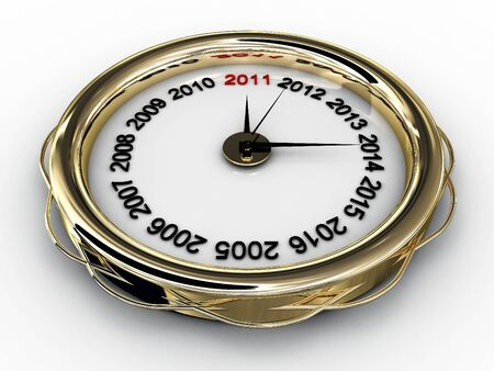 Clock with numbered years. 3D Stock Photo