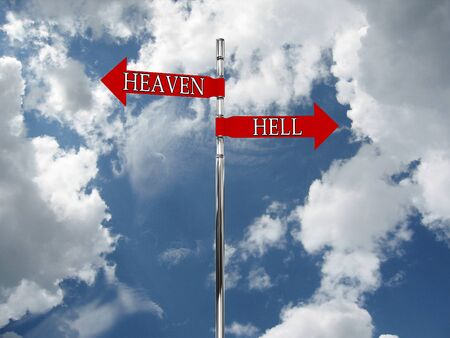 commandment: Road sign in the heaven and hell against the sky