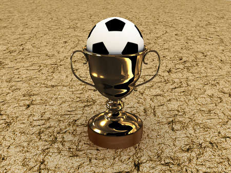 Soccer ball and the cup on a white background photo
