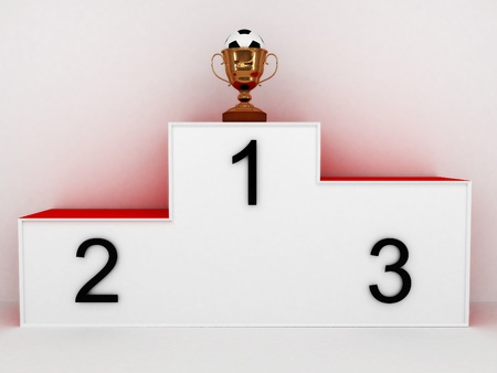 Podium with a soccer ball in the cup on white background. 3D photo