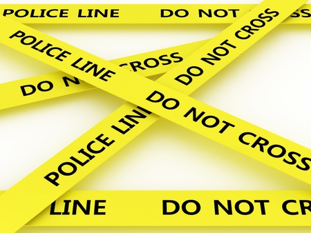 trait: Police line do not cross. 3D Stock Photo