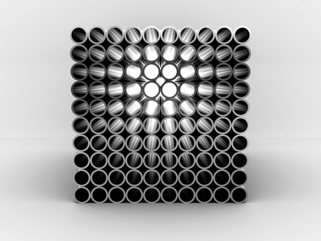 stacked: Steel pipes isolated on white background. 3D