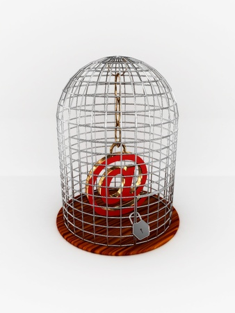 Bird cage with sign at isolated on white background. 3D photo