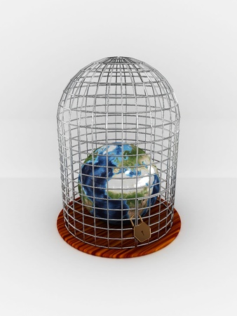 Earth in cage isolated on white background. 3D photo