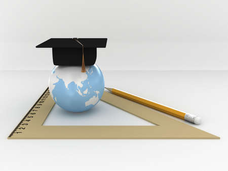 pensil: Masters cap for graduates in the globe with ruller and pensil. 3D