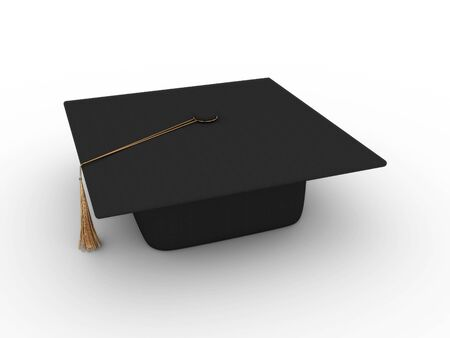 Masters cap for graduates isolated on white background. 3D Stock Photo