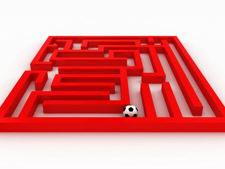 Soccer-ball in the labyrinth isolated on white background. 3D