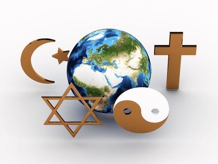 paz mundial: Los símbolos religiosos de nuestro planeta. Imagen en 3D