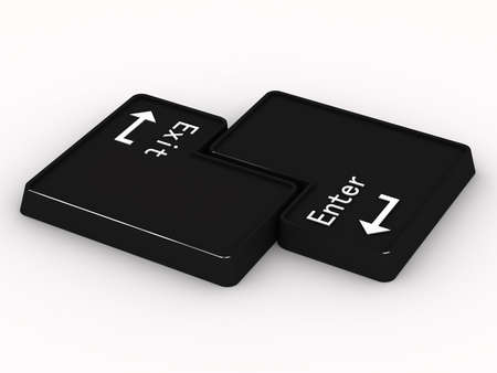 esc: Two black buttons enter and exit on white background. 3D Stock Photo