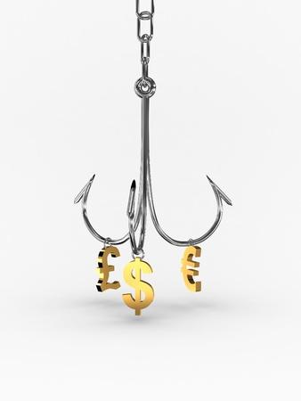 Hooked On Money on white background. 3D photo