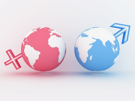 Two globe with male and female sign. 3D image Stock Photo