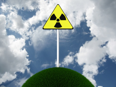 Sign of radiation on the lap of nature. 3D image Stock Photo - 10998614