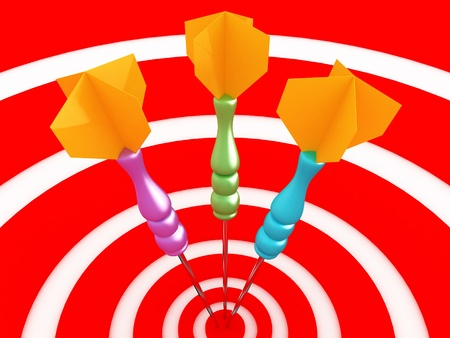 stick out: Game of darts. 3D close-up image