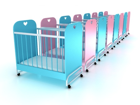 Cots on wheels with a mattress on white background. 3D Stock Photo - 10998621