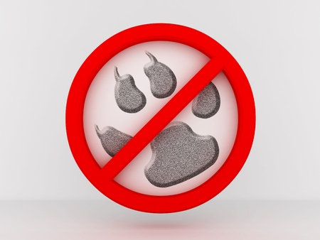 Entry is prohibited to animals. 3D image photo
