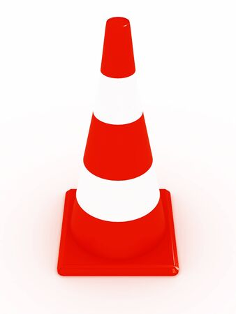 roadworks: Road construction cone isolated on white background. 3d image Stock Photo