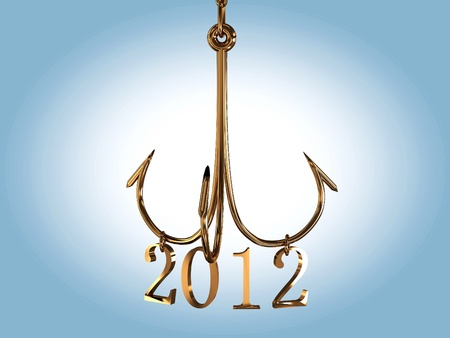 Hooked with 2012 year on white background. 3D Stock Photo - 11283141