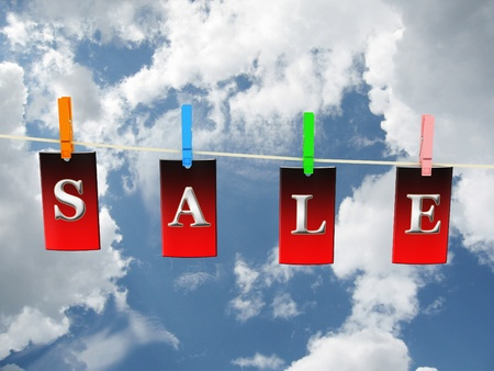 Labels with sale on sky background. 3D image Stock Photo - 11496004