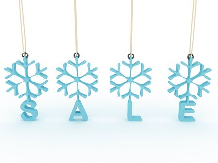 Snowflakes labels with sale on white background. 3D image photo