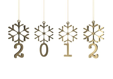Snowflakes with 2012 year on white background. 3D image photo