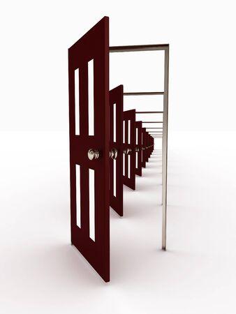 Many open doors isolated on white background. 3D image photo