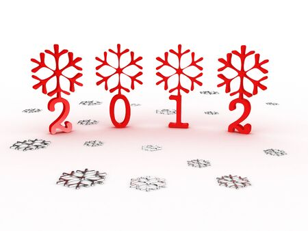 Snowflakes with 2012 year on white background. 3D image Stock Photo