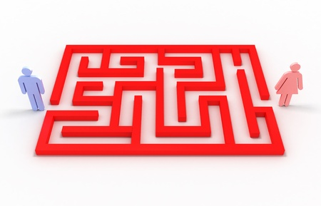 Maze with a man and a woman on white background. 3D image