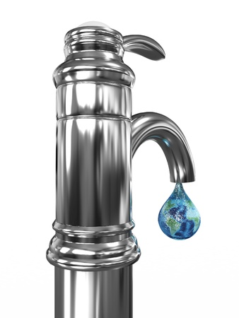 Tap water with a drop in which the planet earth. 3D image Stock Photo - 11802055