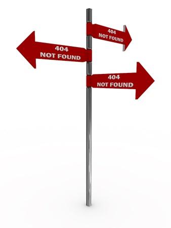 Pointer 404 not found. Error. 3D image Stock Photo
