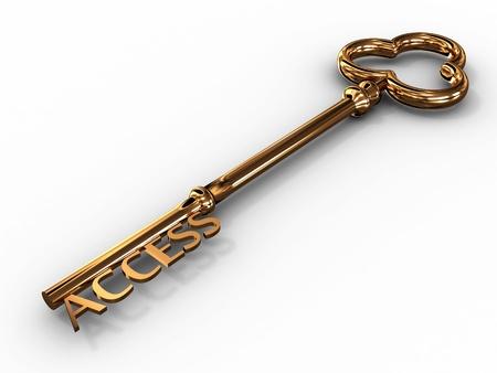 toegangscontrole: Gouden toegangssleutel op een witte achtergrond. 3D-beeld Stockfoto