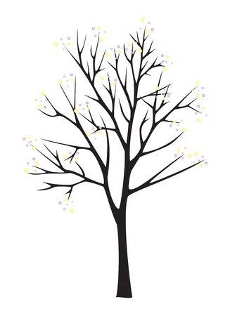 lenght: Black tree silhouette on white background