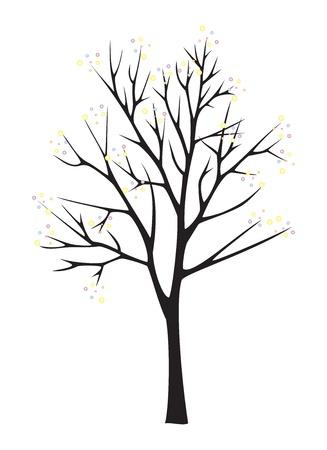 Schwarz Baum Silhouette auf weißem Hintergrund Standard-Bild