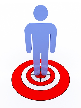Human target isolated on white background. 3D image photo