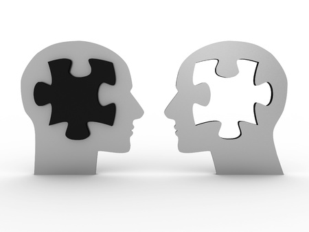 Two heads with a puzzle. 3D image Stock Photo