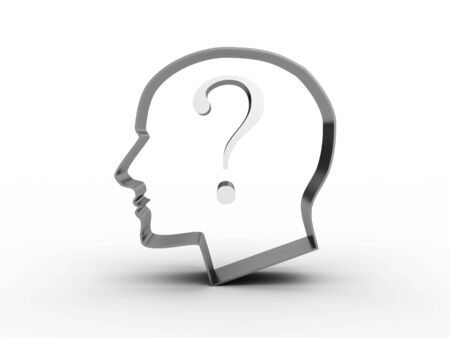 Head with a question inside. 3D image Stock Photo - 12669326
