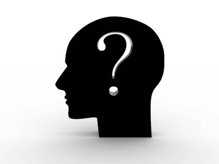 Head with a question inside. 3D image Stock Photo - 12669330