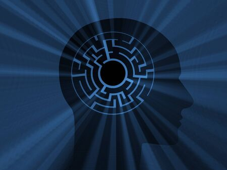 Head with labyrinth. 3D image photo