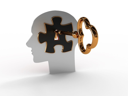 Head with a puzzle and key. 3D image photo