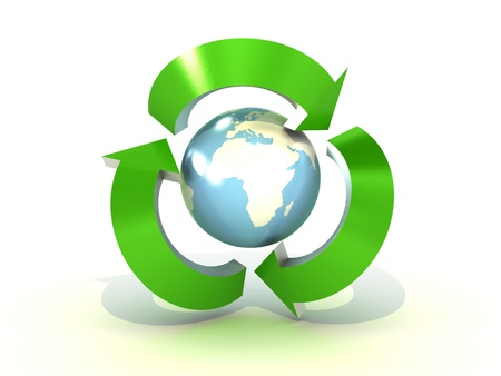 environmental damage: Recycling world on white background. 3D image