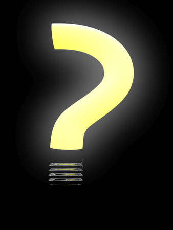 questioner: Question lightbulb isolated on black background. 3D image Stock Photo