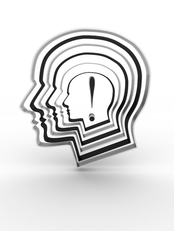 Head with a exclamation mark inside. 3D image Stock Photo - 12669352