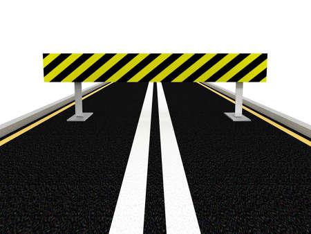 Road under construction. 3D image photo