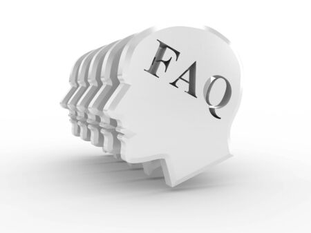 Head with word FAQ on white background. 3D image photo