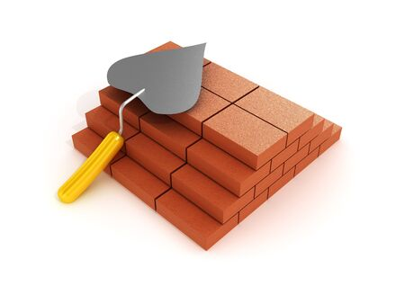 Building a shovel and bricks on white background. 3D image photo