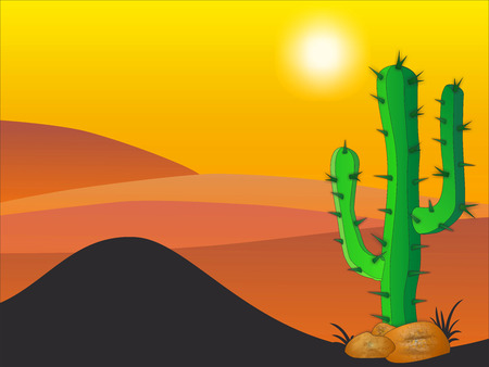 Cactus plants in desert - Stock Illustration illustration
